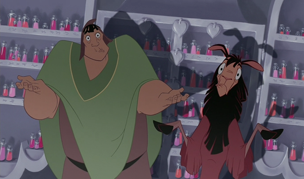 Emperor's New Groove Pacha and Kuzco shrug