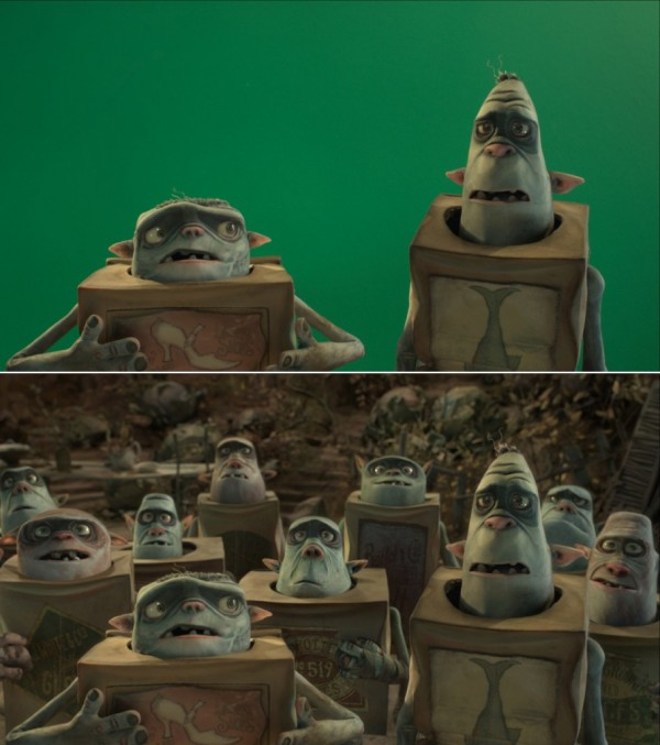 Still from Boxtrolls with and without CG extras