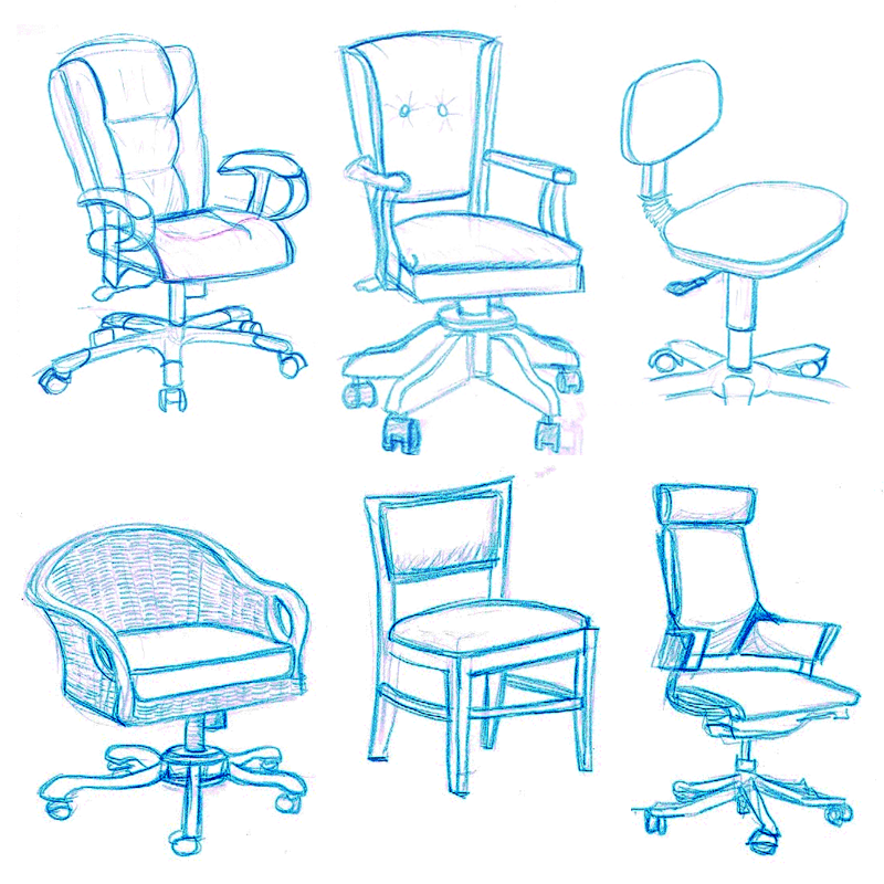 office chair drawing. Plain Chair Chair Drawing Studies To Office