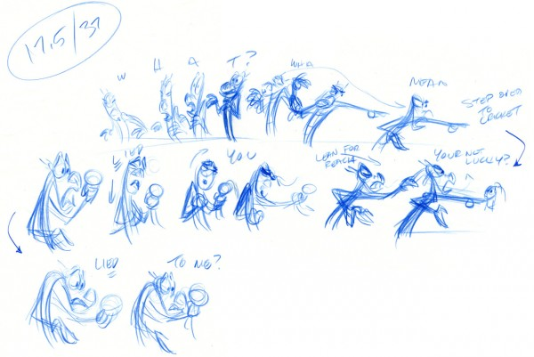 A few Tom Bancroft thumbnails from his work on Mulan.